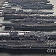 Aircraft Carriers In Port At Naval Art Print by Stocktrek Images