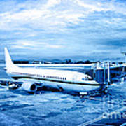 Airplane At Aerobridge Art Print by William Voon