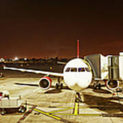 Airplane Parked At Jetway Art Print