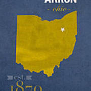 Akron Zips Ohio College Town State Map Poster Series No 007 Art Print
