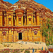 Al-dayr Or The Monastery In Petra-jordan  Art Print