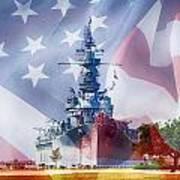 Battleship Alabama And Flag Art Print