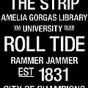 Alabama College Town Wall Art Art Print by Replay Photos