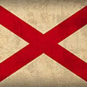 Alabama State Flag Art On Worn Canvas Art Print by Design Turnpike