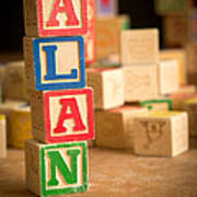 Alan - Alphabet Blocks Art Print