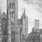 Alarming Morning In Ghent. The Left Part Of The Triptych - The Age Of Cathedrals Art Print