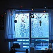 Alaska Christmas Window Decorations And Lights Viewing Sunlit Illuminated Snowy Forest Trees Art Print