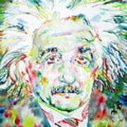 Albert Einstein Watercolor Portrait.1 Art Print