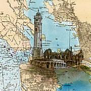 Alcatraz Island Lighthouse Ca Nautical Chart Map Art Art Print