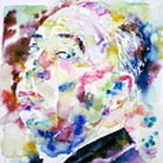 Alfred Hitchcock Watercolor Portrait.1 Art Print