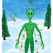 Alien Christmas Out Of This World Art Print by Kristi L Randall