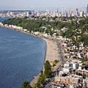 Alki Beach And Downtown Seattle Art Print