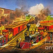All Aboard The Lightning Express 1874 Art Print