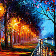 Alley By The Lake 2 - Palette Knife Oil Painting On Canvas By Leonid Afremov Art Print