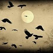 Almost Full Moon And Crows Art Print