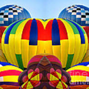 Almost Inflated Hot Air Balloons Mirror Image Art Print