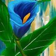 Alone In Blue- Calla Lily Paintings Art Print