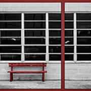 Alone - Red Bench - Windows Art Print