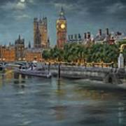Along The Thames At Night Art Print