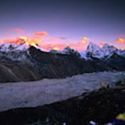 Alpenglow Lights The Summit Of Mt Art Print