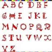 Alphabet With Multicolor Art Print