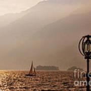 Alpine Lake With A Sailing Boat Art Print