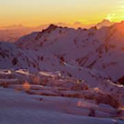 Alpine Sunset On High Alpine Glacier Art Print