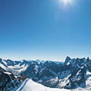 Alps Snow Summit Sunburst Mountaineers Art Print