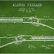 Alston Firearm Patent Drawing From 1887- Green Art Print