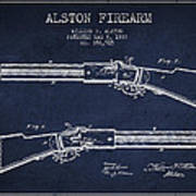 Alston Firearm Patent Drawing From 1887- Navy Blue Art Print