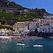 Amalfi Beach And Town Art Print