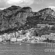 Amalfi Coast Monochrome Art Print