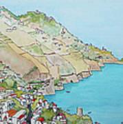 Amalfi Coast Praiano Italy Art Print