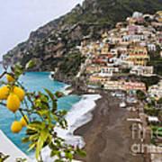 Amalfi Coast Town Art Print by George Oze