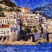 Amalfi Town In Italy Art Print