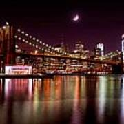 Amazing New York Skyline And Brooklyn Bridge With Moon Rising Art Print