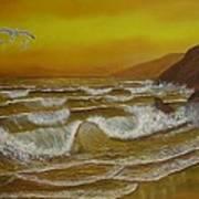 Amber Sunset Beach Seascape Art Print