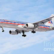 Amercian Airlines Boeing 757 Airplane Landing Art Print by Paul Velgos
