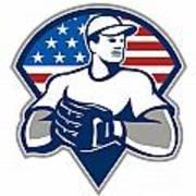 American Baseball Pitcher Gloves Retro Art Print