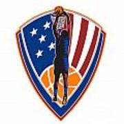 American Basketball Player Dunk Ball Shield Retro Art Print