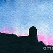 American Farm #2 Silhouette Art Print