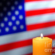 American Flag And Candle Art Print