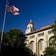 American Flag And Hoover Tower Stanford University Art Print
