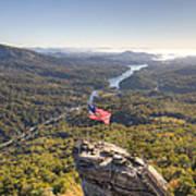 American Flag At Chimney Rock State Park North Carolina Art Print