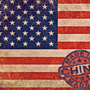 American Flag Made In China Art Print