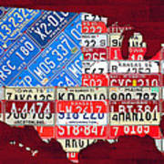 American Flag Map Of The United States In Vintage License Plates Art Print