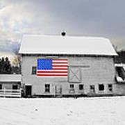 American Flag On A Pennsylvania Barn Art Print