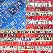 American Flag Recycled License Plate Art Art Print