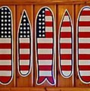 American Flag Surfboards Original Painting By Mark Lemmon Art Print