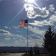American Flag Waving In The Sunrays Art Print by Shawn Hughes